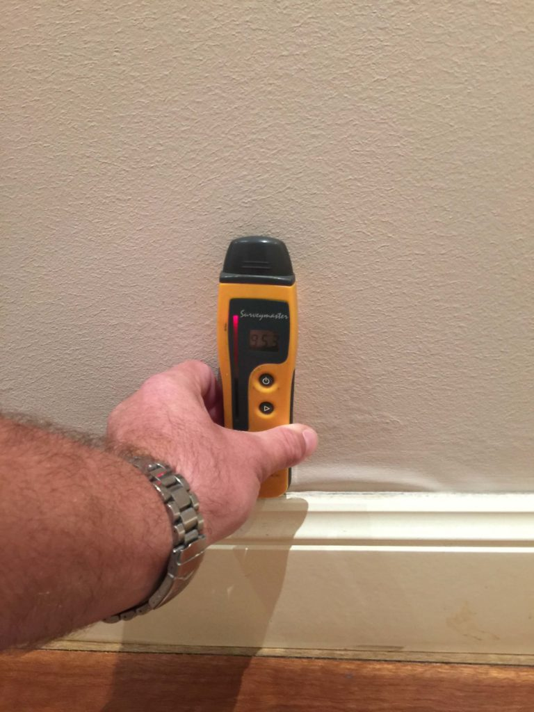 Moisture readings in the 90% range as a result of membrane failure in the shower.