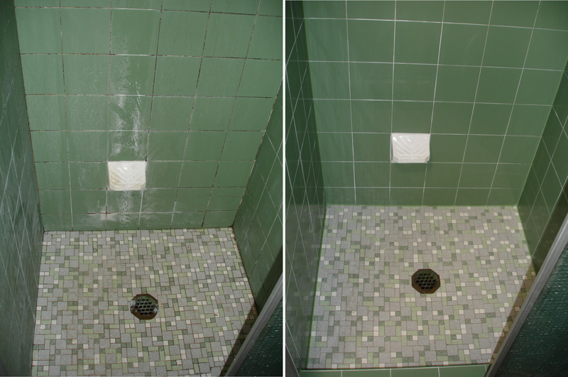Leaking shower resealed using the epoxy floor grout solution