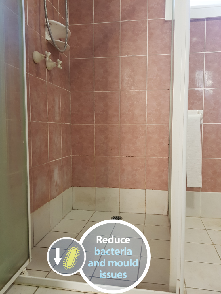 mouldy shower grout in this leaking shower can be put to an end with epoxy grout by Epoxy Grout Pro services