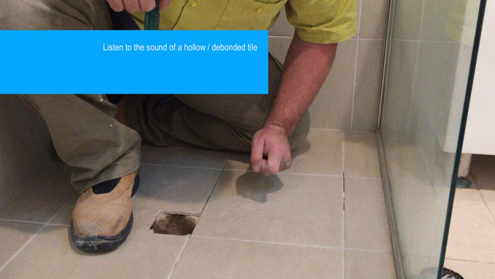 Drummy floor tile sounding video, listen to hollow sound tile vs the solid bonded tile sound